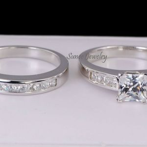 Real 925 Princess Cut Wedding Engagement Ring Set